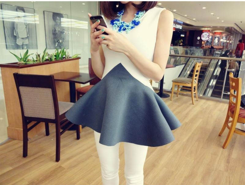 fashion-nonwoven-cloth-contrast-color-dress